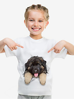 cheap Boys' Tops-Kids Girls' Basic Dog Animal Lovely leisure Print Short Sleeve Tee White