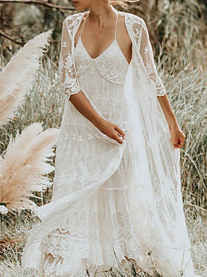 cheap Wedding Dresses-Two Piece A-Line Wedding Dresses Spaghetti Strap Sweep / Brush Train Lace Sleeveless Boho with Embroidery 2020