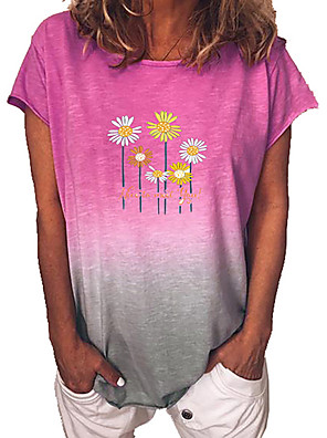 cheap Bras-Women's T-shirt Floral Color Gradient Short Sleeve Tops Blue Purple Yellow