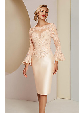 cheap Evening Dresses-Sheath / Column Mother of the Bride Dress Elegant Vintage Plus Size Jewel Neck Knee Length Lace Satin Long Sleeve with Lace 2020
