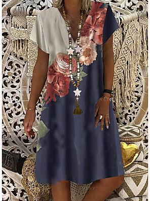 cheap Knee Length Dresses-Women's Shift Dress Knee Length Dress - Short Sleeves Floral Print Summer V Neck Casual Daily 2020 Blue M L XL XXL XXXL