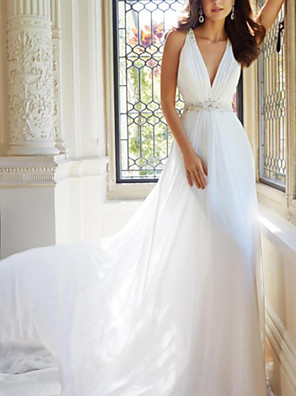 cheap Wedding Dresses-A-Line Wedding Dresses V Neck Sweep / Brush Train Chiffon Sleeveless Simple with Ruched Beading 2020