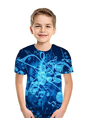cheap Boys' Tops-Kids Boys' Street chic 3D Short Sleeve Tee Blue