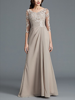 cheap Evening Dresses-A-Line Mother of the Bride Dress Elegant Scoop Neck Floor Length Chiffon Lace 3/4 Length Sleeve with Pleats Appliques 2020
