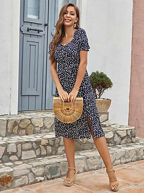 cheap For Young Women-Women's Sheath Dress Midi Dress - Short Sleeves Geometric Split Summer Elegant 2020 Blue Red Yellow S M L XL