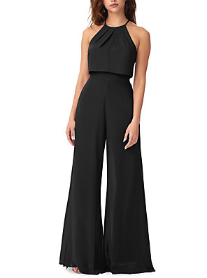 cheap Evening Dresses-Jumpsuits Halter Neck Floor Length Chiffon Bridesmaid Dress with Ruching