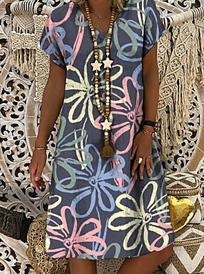 cheap Women's Blouses & Shirts-Women's Shift Dress Knee Length Dress - Short Sleeve Floral Print Summer V Neck Casual Daily 2020 Gray M L XL XXL XXXL