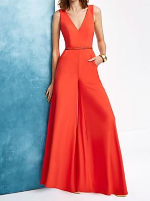 cheap Evening Dresses-Jumpsuits Beautiful Back Minimalist Engagement Formal Evening Dress V Neck Sleeveless Floor Length Chiffon with Sash / Ribbon 2020