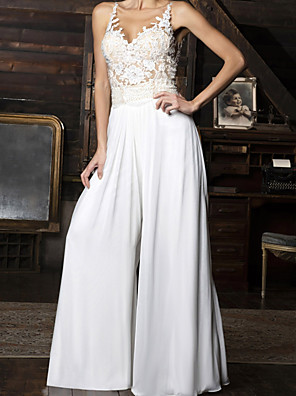 cheap Wedding Dresses-Jumpsuits Wedding Dresses V Neck Floor Length Chiffon Sleeveless Vintage Sexy with Appliques 2020