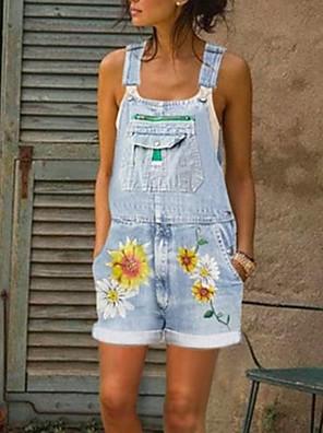 cheap Women's Pants-Women's Blue Gray Light Blue Romper Floral