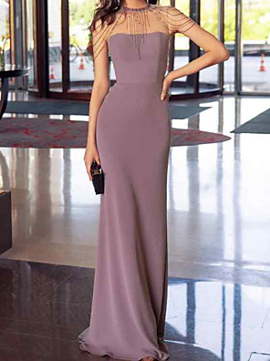 cheap Prom Dresses-Sheath / Column Elegant Reformation Amante Wedding Guest Prom Dress Jewel Neck Sleeveless Floor Length Chiffon with Sleek 2020