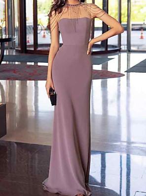 cheap Mother of the Bride Dresses-Sheath / Column Elegant Reformation Amante Wedding Guest Prom Dress Jewel Neck Sleeveless Floor Length Chiffon with Sleek 2020