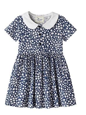 cheap Girls' Dresses-Kids Girls' Geometric Dress Navy Blue