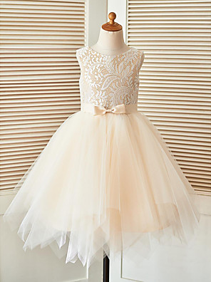 cheap Flower Girl Dresses-A-Line Knee Length Pageant Flower Girl Dresses - Lace / Tulle Sleeveless Scoop Neck with Sash / Ribbon