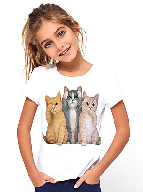 cheap Boys' Tops-Kids Girls' Basic Cat Animal Print Short Sleeve Tee White