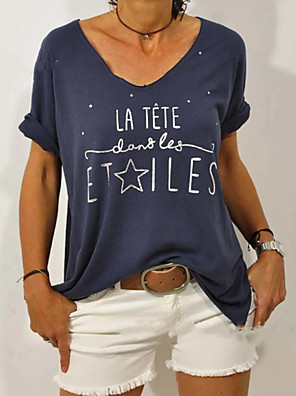 cheap Women's Blouses & Shirts-Women's T-shirt Letter Round Neck Tops Cotton Blue Red Yellow