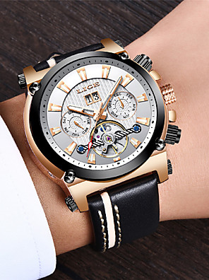 cheap Dress Classic Watches-LIGE Men's Mechanical Watch Automatic self-winding Modern Style Stylish Casual Water Resistant / Waterproof Leather Analog - Black+Gloden White+Golden Black / Stainless Steel / Calendar / date / day