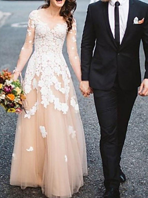 cheap Evening Dresses-A-Line Wedding Dresses Jewel Neck Sweep / Brush Train Lace Tulle Long Sleeve Formal See-Through with Embroidery Appliques 2020