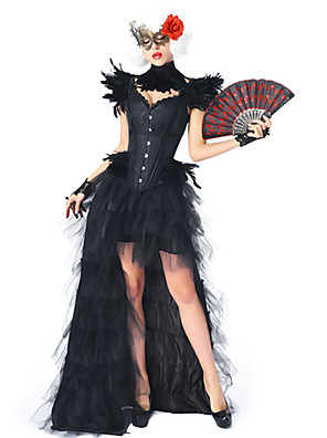 cheap Historical & Vintage Costumes-Plague Doctor Medieval Steampunk Wasp-Waisted Dress Outfits Overbust Corset Women's Costume Black Vintage Cosplay Party Prom / Shawl / Bracelet / Necklace / Eye Mask