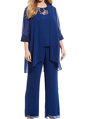 cheap Mother of the Bride Dresses-Two Piece Pantsuit / Jumpsuit Mother of the Bride Dress Elegant Jewel Neck Floor Length Chiffon Lace 3/4 Length Sleeve with Pleats Appliques 2020
