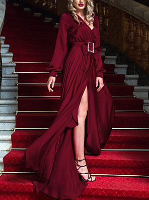 cheap Prom Dresses-Sheath / Column Minimalist Sexy Wedding Guest Formal Evening Dress V Neck Long Sleeve Sweep / Brush Train Chiffon with Sash / Ribbon Split 2020