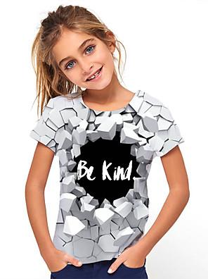cheap Boys' Tops-Kids Girls' Basic Geometric Print Short Sleeve Tee Gray