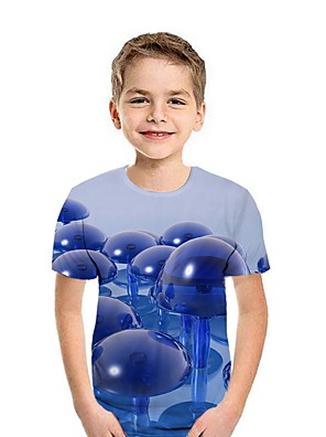cheap Boys' Tops-Kids Boys' Street chic Geometric Short Sleeve Tee Blue