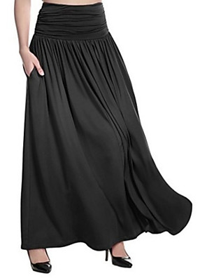 cheap Women's Pants-Women's Maxi Swing Skirts Solid Colored