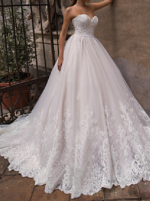 cheap Prom Dresses-A-Line Wedding Dresses Off Shoulder Court Train Lace Tulle 3/4 Length Sleeve Country Plus Size with Pearls Appliques 2020