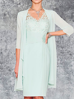 cheap Mother of the Bride Dresses-Two Piece Sheath / Column Mother of the Bride Dress Elegant V Neck Knee Length Chiffon 3/4 Length Sleeve with Embroidery 2020