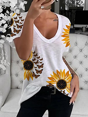 cheap Women's Blouses & Shirts-Women's T-shirt Graphic V Neck Tops Cotton Summer White