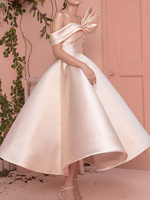 cheap Cocktail Dresses-A-Line Elegant Minimalist Engagement Prom Dress Off Shoulder Short Sleeve Ankle Length Satin with Sleek 2020