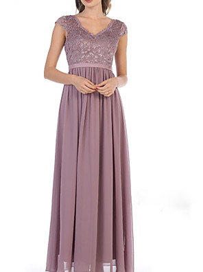 cheap Evening Dresses-A-Line Mother of the Bride Dress Elegant V Neck Floor Length Chiffon Lace Long Sleeve with Pleats Embroidery 2020