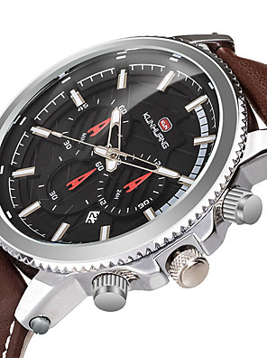 cheap Sport Watches-Men's Sport Watch Quartz Modern Style Stylish Casual Water Resistant / Waterproof Genuine Leather Analog - Black Blue Brown