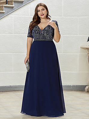 cheap Mother of the Bride Dresses-A-Line Mother of the Bride Dress Elegant Plus Size Plunging Neck Floor Length Chiffon Short Sleeve with Sequin 2020