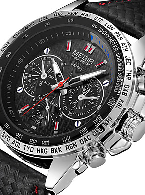 cheap Sport Watches-MEGIR Men's Sport Watch Quartz Modern Style Sporty Outdoor Shock Resistant Analog White Black / Two Years / PU Leather / Noctilucent / Large Dial / Two Years