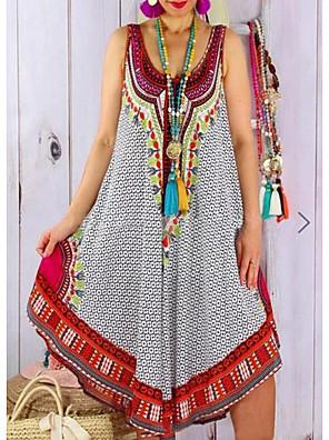 cheap For Young Women-Women's Sundress Knee Length Dress - Sleeveless Print Summer Boho 2020 Black Blue Gray S M L XL XXL XXXL XXXXL XXXXXL
