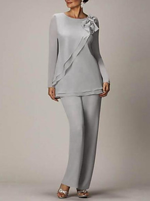 cheap Cocktail Dresses-Pantsuit / Jumpsuit Mother of the Bride Dress Elegant Jewel Neck Floor Length Chiffon Long Sleeve with Bow(s) 2020