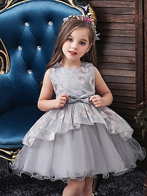 cheap Christening Gowns-Princess / Ball Gown Knee Length Wedding / Party Flower Girl Dresses - Tulle Sleeveless Jewel Neck with Bow(s) / Tier