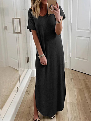 cheap Plus Size Dresses-Women's T Shirt Dress Maxi long Dress - Short Sleeves Solid Color Summer Casual 2020 White Black Gray S M L XL XXL