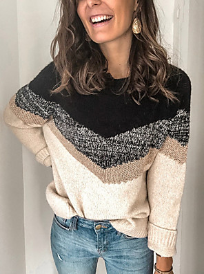 cheap Oversize Sweater-Women's Color Block Pullover Long Sleeve Sweater Cardigans Round Neck Black Blushing Pink