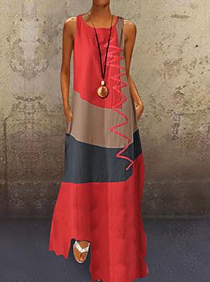 cheap Maxi Dresses-Women's Plus Size Maxi long Dress - Sleeveless Color Block Patchwork Summer Casual Holiday Vacation 2020 White Red Khaki Dusty Blue S M L XL XXL XXXL XXXXL XXXXXL