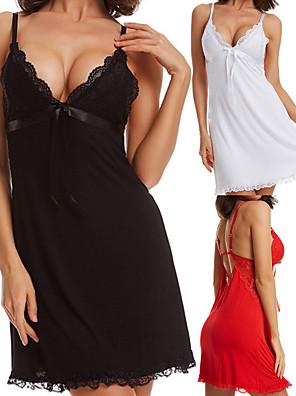 cheap Sexy Bodies-Women's Backless Sexy Babydoll & Slips / Lace Lingerie Nightwear Solid Colored White Black Red L XL XXL