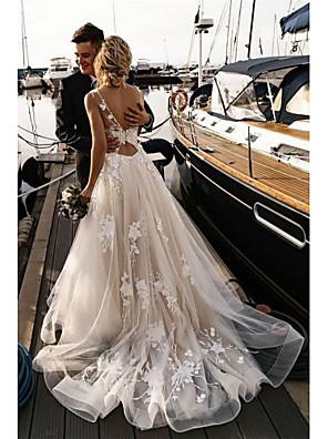 Недорогие Свадебные платья-А-силуэт Свадебные платья V-образный вырез Со шлейфом средней длины Тюль Тонкие бретельки Открытая спина с Аппликации 2020