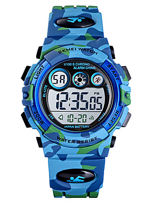 cheap Smart Watches-Kids Digital Watch Digital Sporty Outdoor Water Resistant / Waterproof PU Leather Blue / Green / Navy Analog - Green Blue Light Blue One Year Battery Life / Calendar / date / day / Chronograph