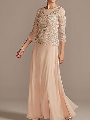 cheap Evening Dresses-Sheath / Column Mother of the Bride Dress Elegant Jewel Neck Floor Length Chiffon Half Sleeve with Pleats Beading 2020