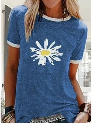 cheap Women's T-shirts-Women's T-shirt Floral Round Neck Tops Basic Top Black Blue Purple