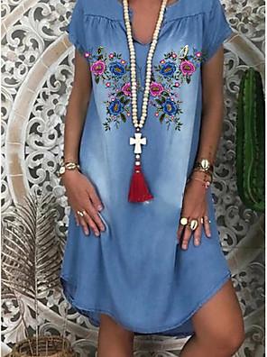 cheap Women's T-shirts-Women's Denim Dress Knee Length Dress - Short Sleeve Floral Print Summer V Neck Casual Daily 2020 Blue M L XL XXL XXXL