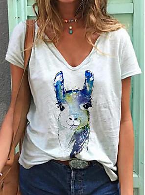 cheap Bikinis-Women's T-shirt Animal Print V Neck Tops Summer White