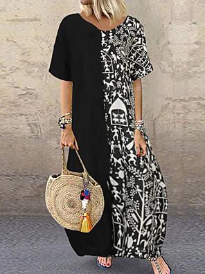 cheap Women's Blouses & Shirts-Women's Shift Dress Maxi long Dress - Half Sleeve Geometric Summer Casual 2020 Black Red M L XL XXL XXXL XXXXL XXXXXL